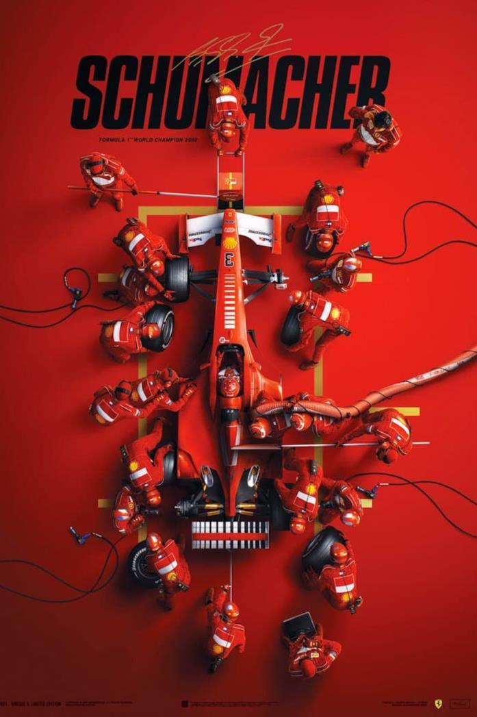 Il poster di Schumacher, dedicato al grande campione di F1