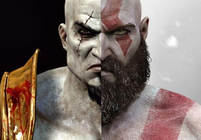 Kratos di God of War giovane e anziano