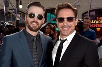 Chris Evans e Robert Downey Jr. alla première di Captain America: Civil War