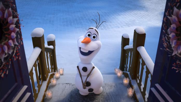Un'immagine che vede protagonista il simpatico pupazzo di neve Olaf