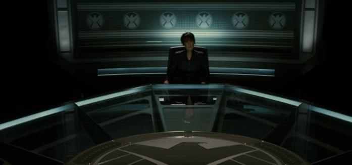Maria Hill nella sala dell'interrogatorio