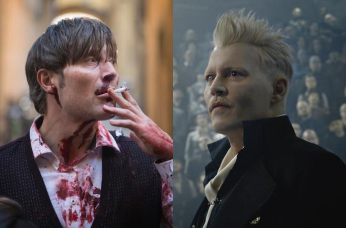 Mads Mikkelsen nel ruolo di Hannibal e Johnny Depp in quello di Grindelwald