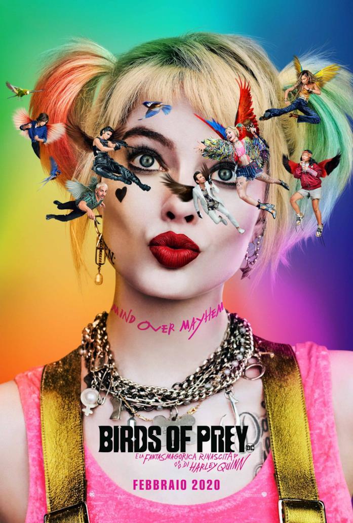 Harley Quinn con i personaggi che le volano davanti nel poster di Brids of Prey