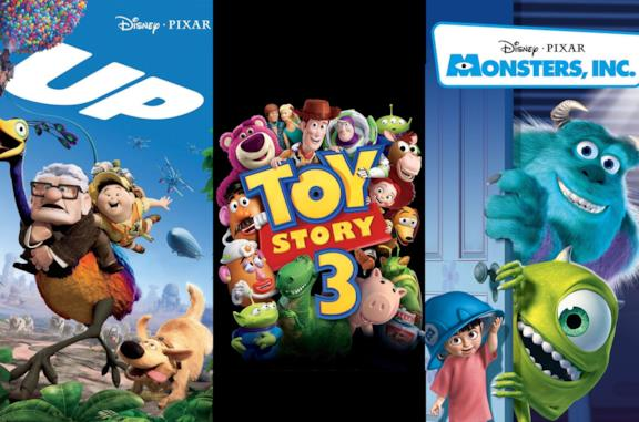 Le locandine dei film Up, Toy Story 3 - La Grande Fuga e Monsters & Co.