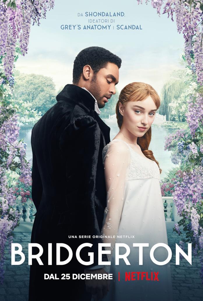 Phoebe Dynevor e Regé-Jean Page nel poster ufficiale di Bridgerton