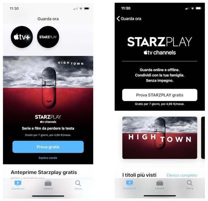 I banner di STARZPLAY nell'app Apple TV