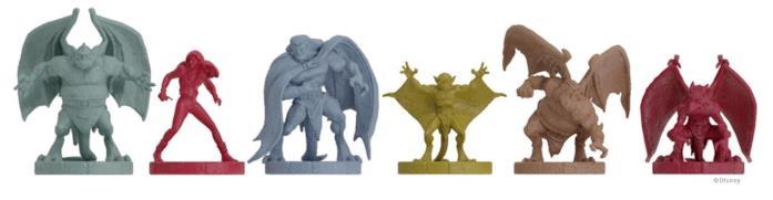 Le sei pedine del gioco con le fattezze dei Gargoyles e di Eliza Maza