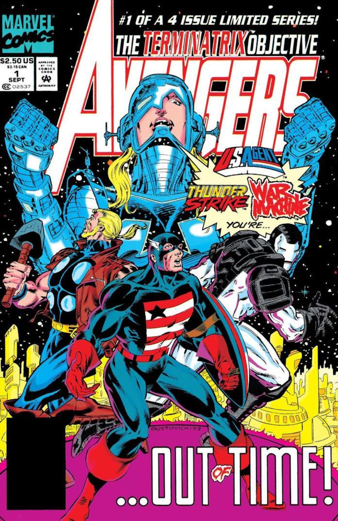 U.S. Agent, War Machine e altri nella cover di Avengers: The Terminatrix Objective