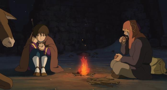 Arren e Sparviere in viaggio davanti a un fuoco