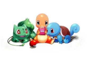 I tre Pokémon starter originali giocano con un Game Boy