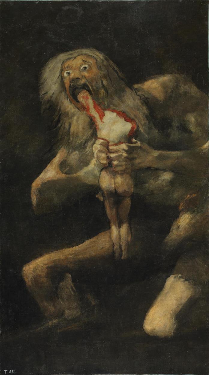 Il celebre e inquietante quadro Saturno divora i suoi figli, dipinto da Francesco Goya