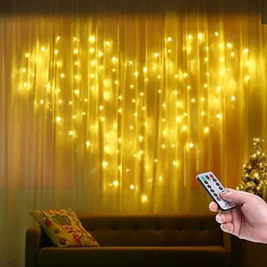 Qedertek Cascata di Luci, Tenda Luminosa con forma di Cuore, 124 LED e 16 Fili, 8 Modo di Lampeggiata col Telecomando, Luci Decorativa Bianco Caldo per Matrimonio, Finestra, Muro, Porta, Bar, Vetrina