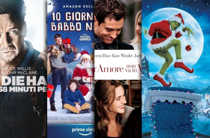 I poster di Die Hard 2, 0 giorni con Babbo Natale, L'amore non va in vacanza, Il Grinch