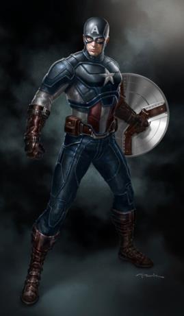 Steve Rogers in piedi con lo scudo al braccio