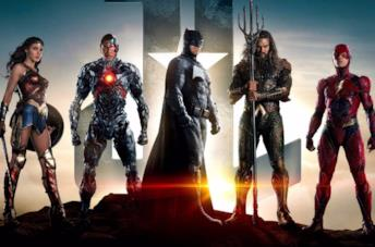 I membri della Justice League: Wonder Woman, Cyborg, Batman, Aquaman, Flash