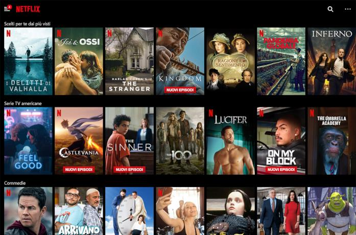 Una schermata dal catalogo di Netflix