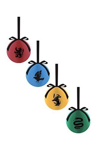 Confezione da 4palline di Natale a tema case di Harry Potter, Grifondoro, Tassorosso, Corvonero e Serpeverde