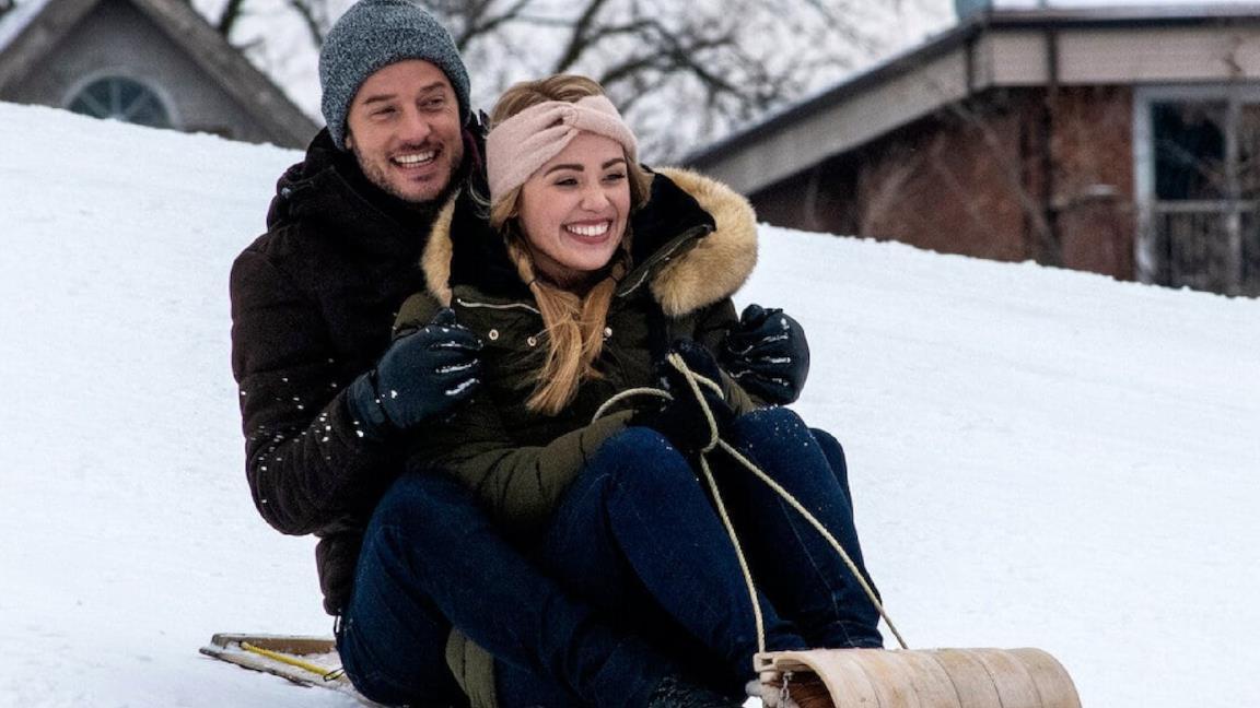 Natalie Hall ed Evan Williams sulla neve