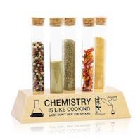 GetDigital Set portaspezie a forma i provette, per spezie ed erbe, con 5 provette in vetro con tappo in sughero e base in legno
