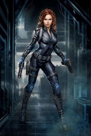 Black Widow con i capelli rossi e lunghi come visti in Iron Man 2