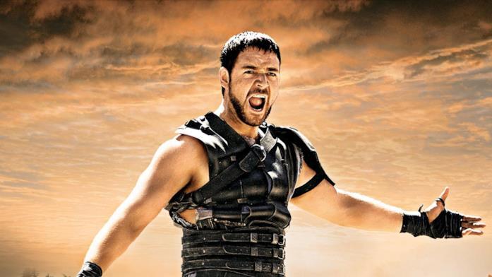 Primo piano di Russell Crowe ne Il Gladiatore