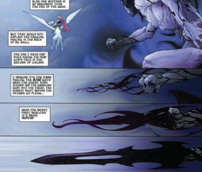Una sequenza di vignette in cui Gorr estrae la Necrosword