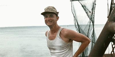 Tom Hanks sul peschereccio di Forrest Gumop