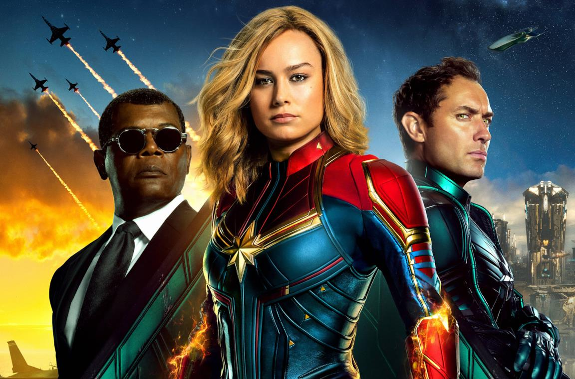 Da sinistra Nick Fury, Captain Marvel e Yon-Rogg in un poster promozionale di Captain Marvel