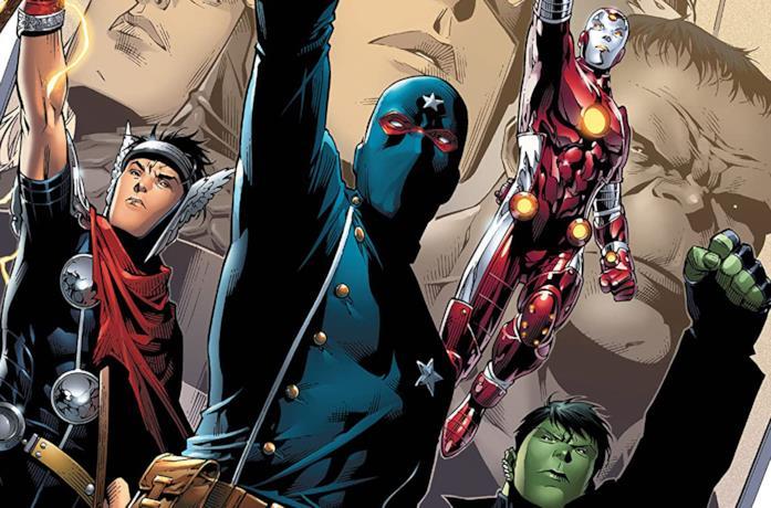 Dettaglio della cover di Young Avengers Vol. 1: Sidekicks