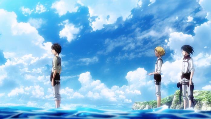 Eren, Armin e Mikasa vedono il mare per la prima volta