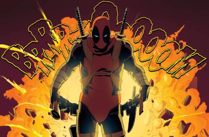 Deadpool con alle spalle un'esplosizone enorme