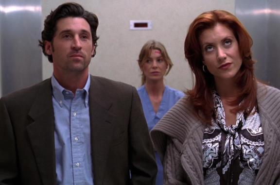 Derek, Addison e Meredith in una scena di Grey's Anatomy