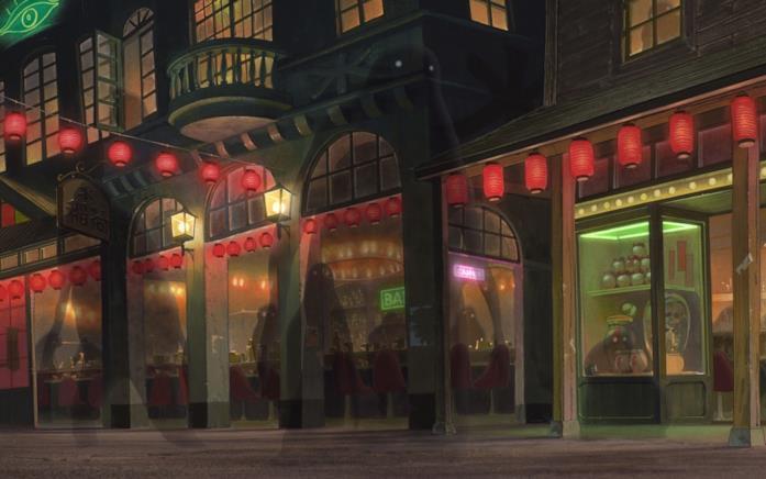 La città incantata che dà il nome al film prende vita al calare della notte