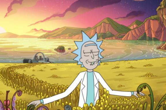 Rick passeggia su un assolato pianeta alieno