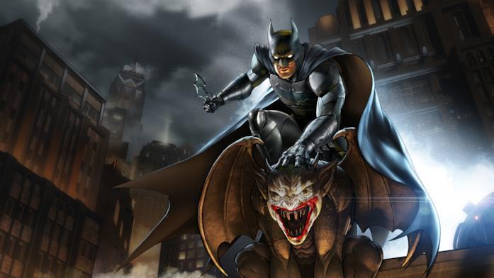 Batman cavalca un gargoyle in Batman: The Enemy Within