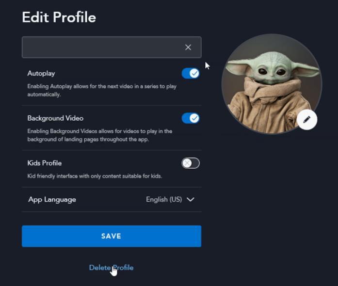 Editare e cancellare un profilo in Disney plus