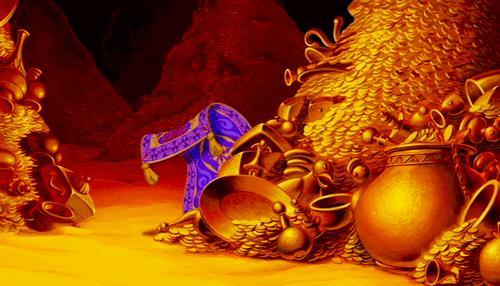 La caverna delle meraviglie con il tappeto di Aladdin