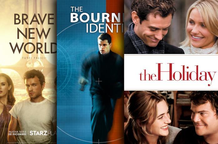 Da sinistra le locandine di: Brave New World, The Bourne Identity, The Holiday