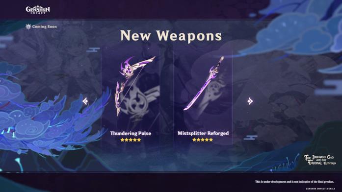 Le armi a 5 stelle in arrivo con l'aggiornamento 2.0 di Genshin Impact