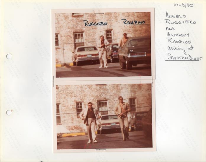 Foto di alcuni sospettati affiancate dalle notazioni originali