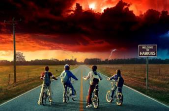 Lucas, Dustin, Mike e Will nel poster promozionale di Stranger Things