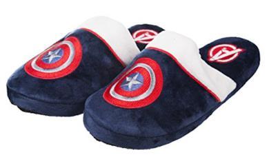 Adulti Ufficiale Supereroe Marvel Capitan America Peluche Slip On Avengers Mule pantofole, Blu, M