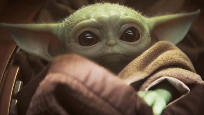 The Mandalorian, un primo piano di Baby Yoda/The Child