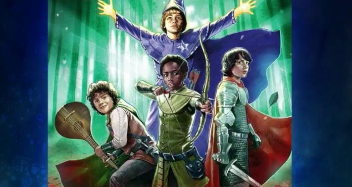 Immagine promozionale di Stranger Things and Dungeons and Dragons, in cui i ragazzi impersonano i propri personaggi D&D