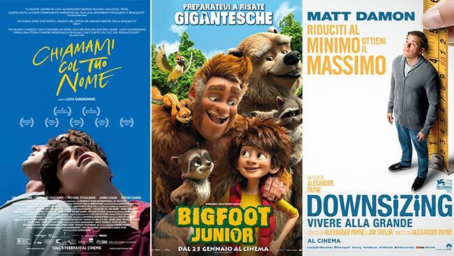 I poster dei film Chiamami col Tuo Nome, Bigfoot Junior, Downsizing - Vivere alla Grande