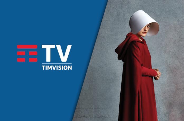A sinistra il logo di TIMVISION, a destra un'immagine promozionale di The Handmaid's Tale