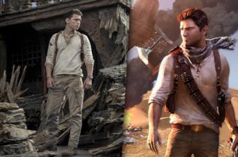 A sinistra Tom Holland sul set di Uncharted, a destra la copertina di Uncharted 3