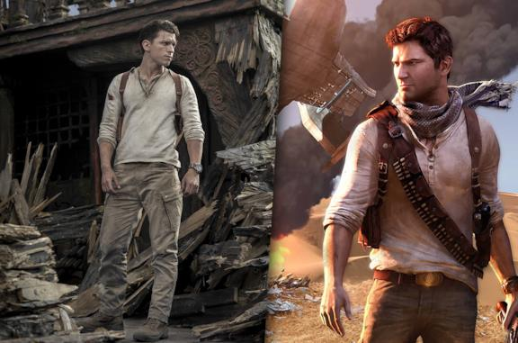 A sinistra Tom Holland sul set di Uncharted, a destra la copertina di Uncharted 3