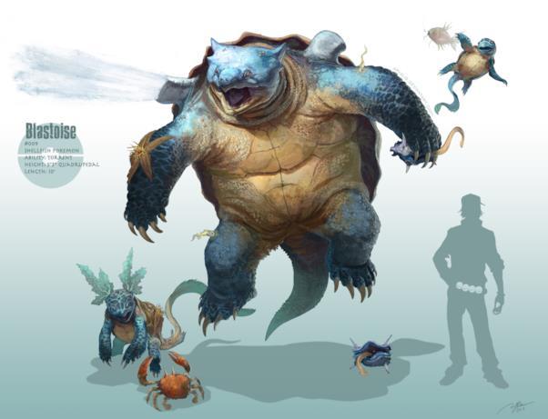 Squirtle e le sue evoluzioni realistiche disegnate da RJ Palmer