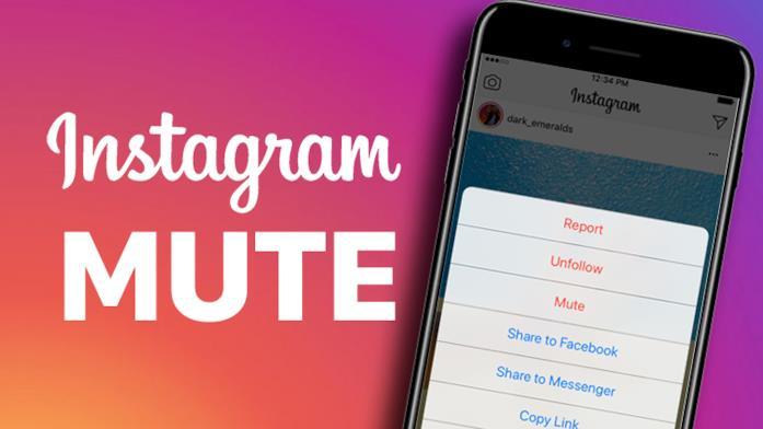 Primo piano del display di uno smartphone che mostra la nuova funzione di Instagram chiamata Mute
